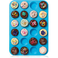 Lucentee Large Mini Muffin Pans - Top Non Stick Bakeware for Muffins, Cakes and Cupcakes - 24 Cups Texas Jumbo Silicone Mold / Baking Tray - Heat Resistant Tins up to 450°F- Easy to Clean - Blue