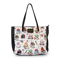 Star Wars Tattoo Flash Print Faux Leather Tote Bag - Bags