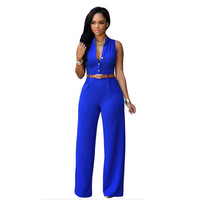 2017 Rompers Women's Jumpsuit Fashion Sexy Loose V-Neck Casual Party Jumpsuit Sleeveless Rompers With belt  Mujeres Mono H9