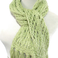 Christmas In July Dusty Sage Hand Knit Scarf - Organic Cotton