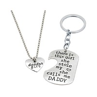 Dominic Father Daughter Personalized Keychain & Heart Necklace