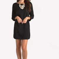 Christina Black Long Sleeve Shift Dress