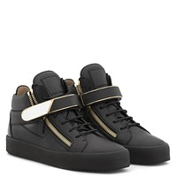 Giuseppe Zanotti Gz Kriss 1/2 Black Leather Mid-top Sneaker With Metal Bar