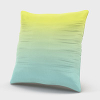 Ombre Pillow Case, Ombre Pillow Cover, Lime Green And Turquoise Pillow Throw, Decorative Velveteen Pillow