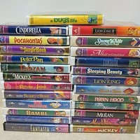 Lot of 25 Assorted Walt Disney Classics Clamshell VHS Movies Collection Nice!