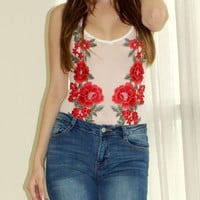 Rose Applique Mesh Bodysuit