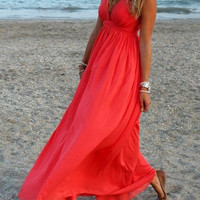 Red Chiffon V-Neck Sleeveless Maxi Dress