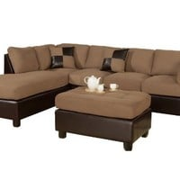 Bobkona Hungtinton Microfiber/Faux Leather 3-Piece Sectional Sofa Set, Saddle