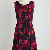 Mid-length Sleeveless A-line A Lady's Best Frond Dress in Magenta Flowers