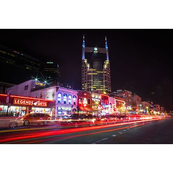 Nashville Tennessee Broadway Country Music Bars Tootsies Legends Skyline Downtown Photography Landmark Canvas Metal Print Wall Art Cityscape