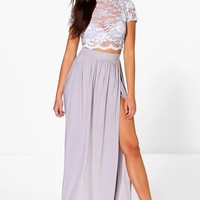 Keira Lace Crop Bralet And Maxi Skirt Co-ord | Boohoo