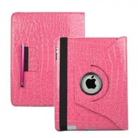 SANOXY® 360 Degrees Rotating (Pink Crocodile) Leather Case Cover w/ Swivel Stand for iPad 3 / The New iPad (3rd Generation) /iPad 2 Wi-Fi/4G Model, Supports Smart Cover Wake/Sleep Function