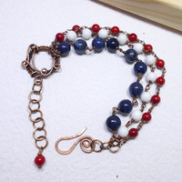 Navy Bracelet, Red, White and Blue Sailor Bracelet, Copper Wire Wrapped Jewelry