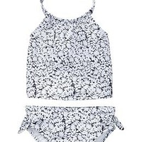 Graphic floral tankini two-piece