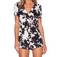 OH MY LOVE Floral Playsuit in White