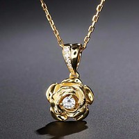 0.1ct Round Cut Natural Diamond Rose 14k Gold Necklace