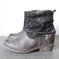 coolway - clea leather & fabric braid detailed hidden wedge ankle boots - distressed black