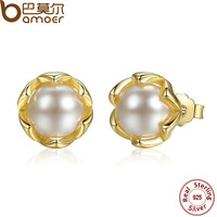 BAMOER Authentic 925 Sterling Silver Simulated Pearl Stud Earrings Gold Color Jewelry for Women Party PAS419