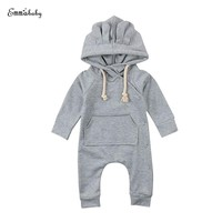 Fall Autumn Newborn Toddler Kids Baby Boy Girl Long Sleeve Bunny Ear Hooded Romper Jumpsuit Playsuit Outfit Warm Baby Clothes