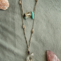 SEA BREEZE NECKLACE - Long Necklace Tibetan Quartz Turquoise -
