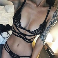 On Sale Hot Deal Cute Hot Sale Bikini Sexy Hollow Out Cross Strap Exotic Lingerie [11407012687]