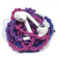 MyBuds Wrapped Tangle-Free Earbuds for iPhone | Pink Purple Blue Swirl | with Microphone and Volume Control