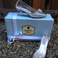 Cinderella Couture Glass Slipper Style Adult Costume Pair Pumps Heels Shoes Custom Made