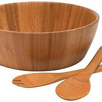 Lipper International Bamboo 3-Piece Salad Set Gift Kitchen Decor Home Large