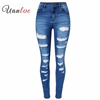 2018 Women`s Celebrity Style Fashion Blue Low Rise Skinny Distressed Washed Stretch Denim Jeans For Women Ripped Pants