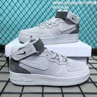 HCXX N178 Nike Air Force 1 Low Suede Velcro Fashion Causal Skate Shoes Grey Green