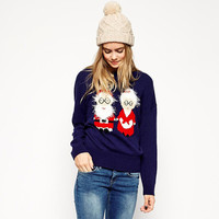 Blue Christmas Cartoon Elder Couple Knit Sweater