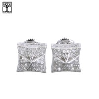 Jewelry Kay style Men's Iced Out Sterling Silver Pave Square Fully CZ Screw Back Earrings SHS 484S