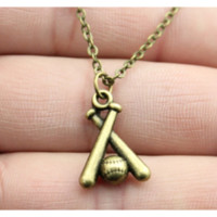 Vintage Antique Bronze Plated Baseball Pendant Necklace