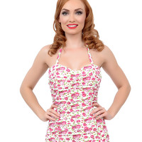 Vintage Pin-Up Style Pink & White Floral Ruched Rosie Halter One Piece Swimsuit