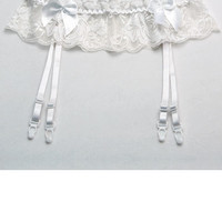 Scalloped Lace Garter Belt with Bows