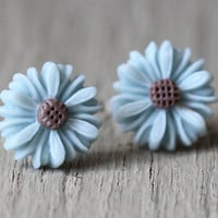Fake Plugs : Light Blue and Brown Daisy Flower Stud Earrings, Sterling Silver Plated Earring Posts, ArtisanTree, 12mm