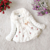 High quality Winter Autumn Flower Lace Baby Outerwear Clothes Girls Jacket Children Coat