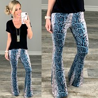 Never Grow Up Snake Print Flare Pants - Blue
