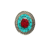 turquoise coral bohemian ring