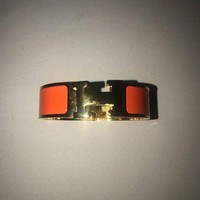 ONETOW Hermes Clic Clac H Bracelet Orange Enamel And Gold