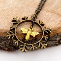 The Snow Queen Bee and Snowflake Pendant Necklace (Bronze Tone and Gold Plated, Fantasy Fairytale Jewelry)