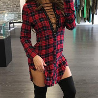 In the Thick of It Plaid Lace-Up Dress