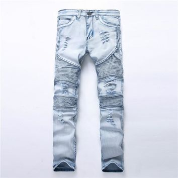 NEW men Fashion Biker Holes jeans ripped denim slim motorcycle pant men classic rap hip hop skinny casual winter stretch jeans