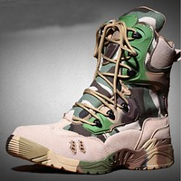 Men Military Tactical Boots Leather Waterproof camouflage Desert Combat Army boots Safety work Shoes Mens Winter Boots