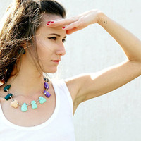 Clay Gem Statement Necklace, Polymer Clay Necklace in Emerald Peach Mint Purple, Gem Candy Collection