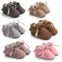 Baby Boy Girls Soft Sole Crib Shoes Infant Suede Warm Fleece Toddler Shoes 0-18M