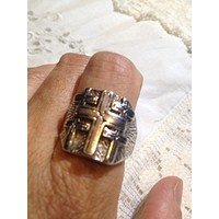 Vintage Gothic Cross Mens white bronze Ring