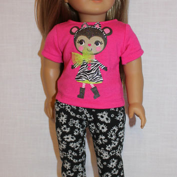 18 inch doll clothes, pink animal graphic print shirt , pink doll t-shirt, monkey t-shirt,  animal print t-shirt, and black floral  jeggings
