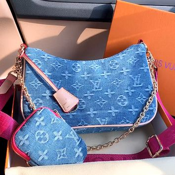 LV simple denim jacquard letter shoulder bag mother and child bag two-piece set