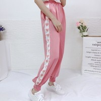 GIRL Cute Print Heart Loose Harajuku kawaii Casual vadim Lantern pants Japanese Summer Kawaii Women High waist Trousers